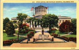 Ohio Columbus State Capitol And McKinley Memorial 1946 Curteich - Columbus