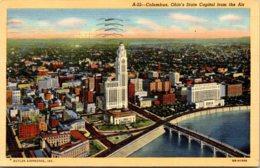 Ohio Columbus Aerial View Of State Capitol 1944 Curteich - Columbus