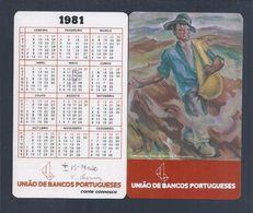 Calendário Da UBP - União De Bancos Portugueses De 1981.  UBP - Union Of Portuguese Banks 1981 Calendar - Small : 1981-90