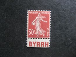 "A). TB  N° 360b, Neuf XX. Avec PUB  Inférieure ""  BYRRH "". - Advertising"