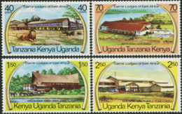 EAST AFRICA Kenya Uganda Tanzania 1975 Game Lodges Of East Africa Lion Rhino Animals Fauna MNH - Rinocerontes