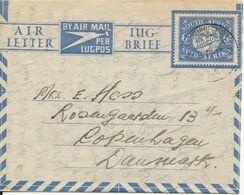 South Africa Air Letter Sent To Denmark Johannesburg 24-6-1949 - Posta Aerea