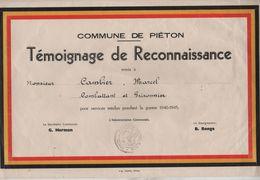 VP19/ Commune De Piéton Témoignage De Reconnaissance Remis à M.Cambier Marcel Combattant & Prisonnier 40-45 - Diploma's En Schoolrapporten