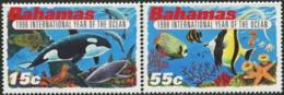 BAHAMAS 1998 International Year Of The Ocean Marine Life Fish Fishes Dolphins Shark Whale Turtle Animals Fauna MNH - Mundo Aquatico