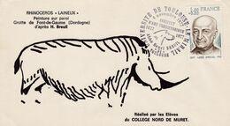 France 1977 FDC Rock Painting Long Hair Rhinoceros. Paleontologist Henri Breuil - Prehistorics