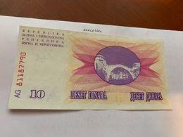 Bosnia 10 Dinara Uncirc. Banknote 1992 #9 - Bosnië En Herzegovina
