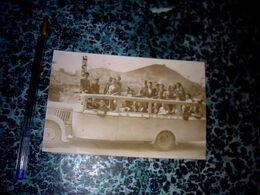 Ancienne Photo Autocar Automobile Avec Groupe De Passagers Datée De 1949,? - Automobiles