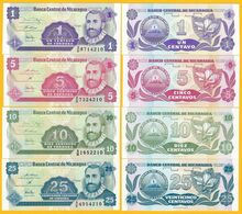 Nicaragua Set 1, 5, 10, 25 Centavos 1991 UNC Banknotes - Nicaragua