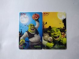 China Gift Cards, 100 RMB, KFC, Shrek,  (2pcs) - Gift Cards