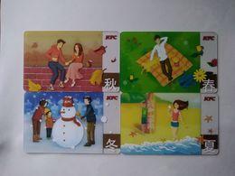 China, Gift Cards, KFC, Four Seasons ,100 RMB,  Transparent Card (4pcs) - Gift Cards