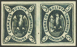 BOLIVIA: Sc.2b, 1867/8 Condor 5c. Dark Green, MNH Pair, Excellent Quality! - Bolivia