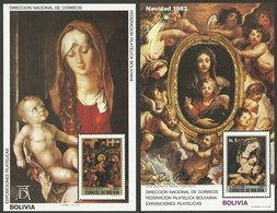 BOLIVIA: Year 1982, Christmas (religious Paintings), Set Of 2 MNH Souvenir Sheets, Scott Catalog Value US$125 - Bolivia
