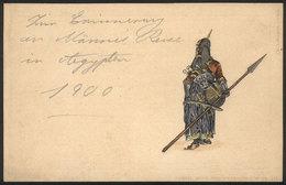 EGYPT: Medieval Worrier, Saracen? EMBOSSED Postcard, Circa 1900, VF Quality - Egypt