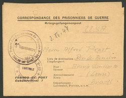 FRANCE: 3/DE/1947 Chalon-sur-Saone - BRAZIL: Letter Of A German Prisoner Of War Sent To Brazil, With Arrival Backstamp O - France