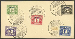 GREAT BRITAIN - M.E.F.: Sc.J1/J5, The Set Of 5 Values On Large Fragment With Cancels Of RHODES 31/MAR/1947, VF Quality! - Tasse