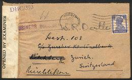 "BRITISH INDIA: Cover Sent From Bombay To Switzerland On 1/DE/1944, Interesting Violet ""BUSINESS DOCUMENTS"" Mark And Brit - Territoire Britannique De L'Océan Indien"