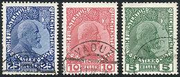 LIECHTENSTEIN: Sc.1/3, 1912 Cmpl. Set Of 3 Used Values, Printed On Thick Chalky Paper, VF Quality! - Liechtenstein