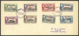 FALKLAND ISLANDS/MALVINAS - SOUTH SHETLANDS: Envelope With The Set Of 8 Overprinted Values Sent To Stanley, VF Quality! - Falklandinseln