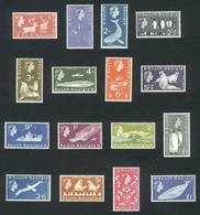 FALKLAND ISLANDS/MALVINAS - SOUTH GEORGIA: Yvert 9/24, 1963/9 Fauna, Complete Set Of 16 Values, Excellent Quality, Yvert - Falklandinseln