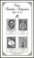 SOUTH AFRICA - CISKEI: Souvenir Sheet Issued In 1981 In Black Containing The Set Sc.1/4 Commemorating Independence, MNH, - Ciskei
