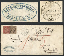 SWITZERLAND: Entire Letter Sent From MEILEN To HOMBRECHTIKON On 15/DE/1871 Franked With 15c., Nice Cancels, VF Quality! - 1862-1881 Helvetia Assise (dentelés)
