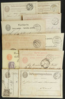 SWITZERLAND: 8 Postal Cards + 1 Wrapper Used Between 1873 And 1906, With Some Interesting Postmarks, For Example: Schaff - 1862-1881 Helvetia Assise (dentelés)