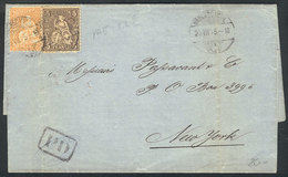SWITZERLAND: Entire Letter Sent From WÄDENSCHWEIL To New York On 25/JUL/1875 Franked With 25c., Handsome! - 1862-1881 Helvetia Assise (dentelés)