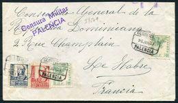 1937 Spain Civil War Registered Censor Cover Palencia - Le Havre, France - 1931-Today: 2nd Rep - ... Juan Carlos I