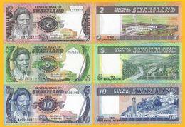 Swaziland Set 2, 5, 10 Emalangeni 1982-1986 UNC - Swaziland