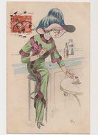 Carte Fantaisie Signée Mille    / Mode . Le Dernier Chic .Femme Avec Grand Chapeau Et Cigarette Dans Un Café - Mille