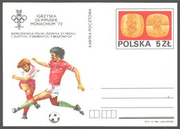 Football Soccer München Germany OLYMPIC GAMES Poland Team 1972 POLAND Stamped STATIONERY Postcard - Fussball