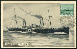 1946 Belgium Marie Henriette Ostend / Dover Paquebot Maximum Card. Ship Ferry Maxicard - 1934-1951