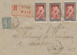 LETTRE 11 8 24. N° 185 JEUX OLYMPIQUES PARIS X 3.RECOMMANDE DE BURIE CHARENTE-INF. POUR SAINTES  / 7200 - Francia