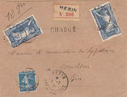 LETTRE 5 7 24. N° 186 JEUX OLYMPIQUES PARIS X 2 .RECOMMANDE CHARGÉ DE MEZIN LOT-GARONNE POUR CONDOM  / 5405 - Francia