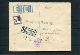 1940 Palestine Registered Jerusalem Censor Cover - Cairo Egypt. - Palestine