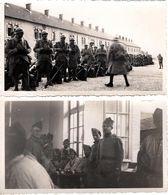 2 Photos Originales Guerre 1939/45 Préparation & Service Militaire Pour Soldats Français Casqués, Paquetages & Calots - Oorlog, Militair