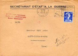 C13 1958 Lettre En Tete Secrétariat D'état A La Guerre( Griffe Du Ministre) - Postmark Collection (Covers)