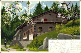 Artiste Lithographie Mailick, Landhaus Im Frühling, Baumblüte - Illustrators & Photographers
