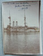 Photo Bateau Guerre Français - Cuirassé En Route Pour La Serbie - Campagne D'orient 1915 - WW1 - Bateaux