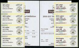 QATAR (2015) - ATM Post&Go - 20th GCC Stamps Exhibition Doha 2015 - Mint Sets + Receipts - Experimental Postage Labels - Qatar