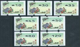 MACAU 2020 ZODIAC YEAR OF THE RAT ATM LABELS NAGLER 714 SET OF 7 VALUES - 1999-... Regione Amministrativa Speciale Della Cina
