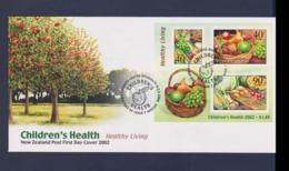 New Zealand FDC 2002 Childrens Helath - Healthy Living  Souvenir Sheet  (NB**LAR9-165) - FDC
