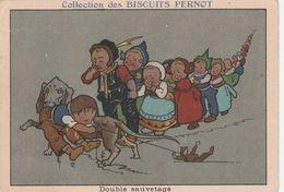 CHROMO Publicitaire Publicité Réclame Biscuits PERNOT Groupe D' Enfant Chien Teckel Dackel Daschsund (2 Scans) - Pernot