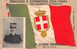 """01716 """"W. VITTORIO EMANUELE III  RE D'ITALIA - OMAGGIO E COMMOSSA ESULTANZA PER SCAMPATO ATTENTATO 1912""""  CART  NON SPED - Andere"""