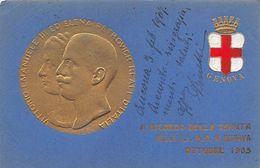 """01717 """"RICORDO DELLA VENUTA DELLE LL. MM. IN GENOVA OTTOBRE 1905-V.EMANUELE III-ELENA PETROVICH"""" RILIEVO. CART  1907 - Vari"""