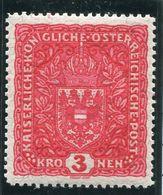 AUSTRIA 1917-19 Arms 3 Kr. On Granite Apper (Faserpapier) Format I,  25:30mm, MNH / **.  Michel 209 I - Neufs