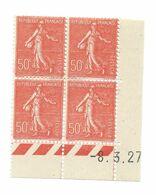Semeuse Bloc De 4 - 50c Rouge N° YT 199 - Coin Daté 8. 3. 1927 - Coins Datés