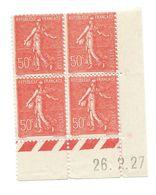 Semeuse Bloc De 4 - 50c Rouge N° YT 199 - Coin Daté 26. 2. 1927 - Coins Datés
