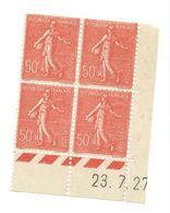 Semeuse Bloc De 4 - 50c Rouge N° YT 199 - Coin Daté 23. 7. 1927 - Coins Datés