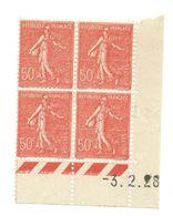 Semeuse Bloc De 4 - 50c Rouge N° YT 199 - Coin Daté 3. 2. 1928 - Coins Datés